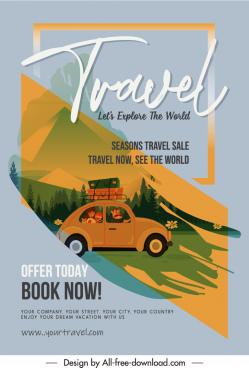 travel banner template family car sketch grunge decor