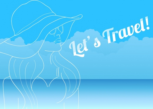 travel banner woman icon handdrawn sketch blue design