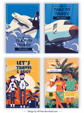 travel banners airplane tourists sketch colorful classic design