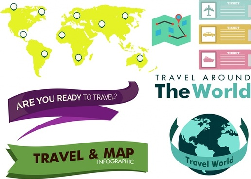 travel concept design elements in various colored styles