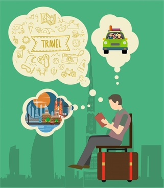 travel concept design man thinking and symbol elements