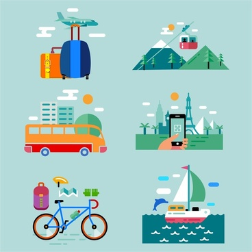 travel concept icons design with various styles