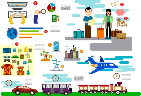 travel concept infographic various symbols in colors style