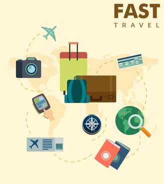travel concepts illustration with personal tourism tools