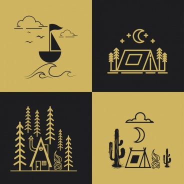 travel design elements boat tent icons geometric decor