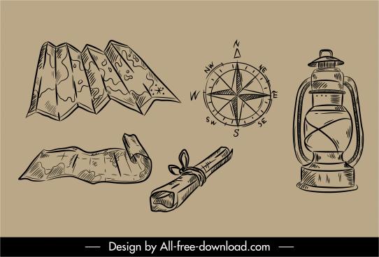 travel design elements retro handdrawn objects sketch