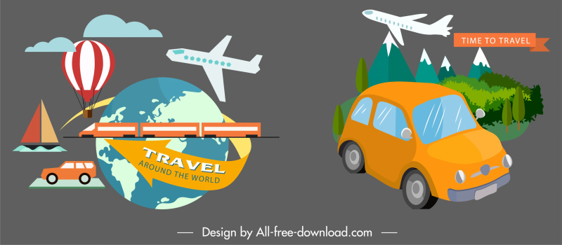 travel design elements vehicles globe landscape sketch