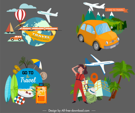 travel design elements vehicles tourists utensils sketch