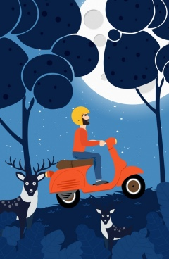 travel drawing man riding scooter moonlight reindeer icons