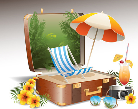travel elements and suitcase creative background set