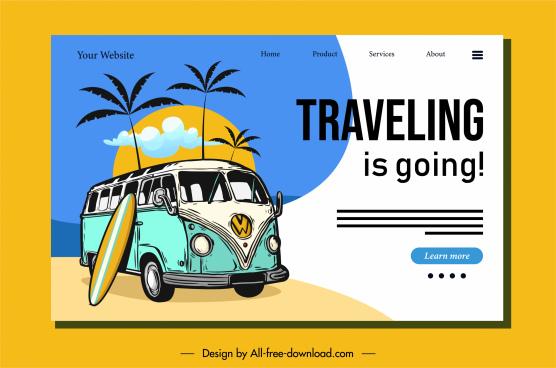 travel homepage template retro decor sea trip elements