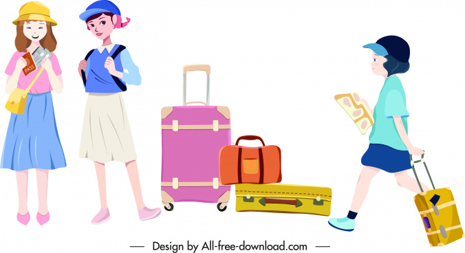 travel icons children suitcases sketch colored design