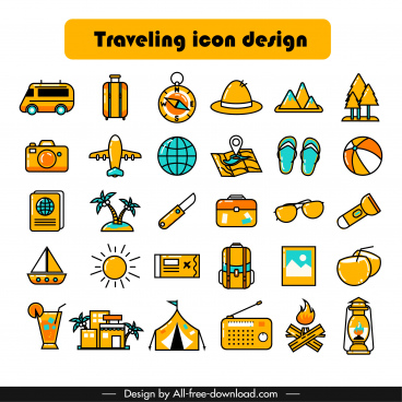 travel icons collection classical colorful symbols sketch