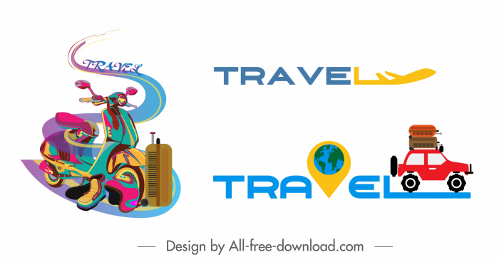 travel icons colored vehicles texts decor