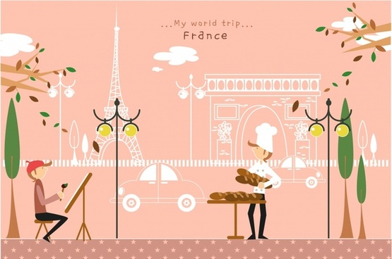 france travel advertisement classical colorful cartoon sketch