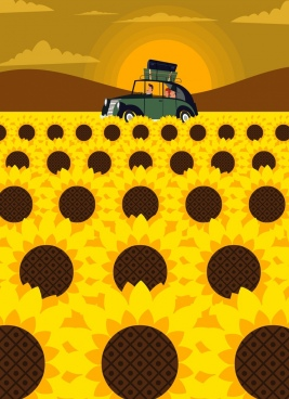 travel painting sunflower field car sun icons decoration