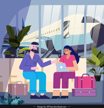 travel painting tourists airport sketch cartoon characters design