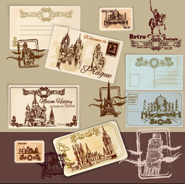 travel postcard vintage styles vector set