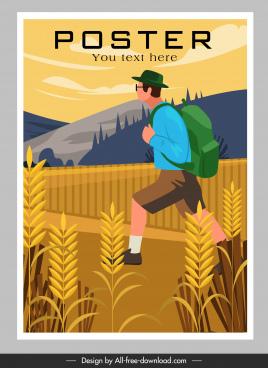 travel poster backpacker mountain scene sketch