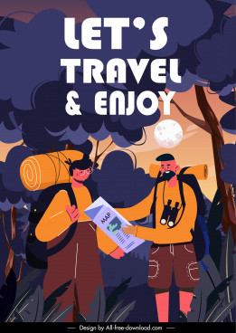 travel poster backpackers forest scene cartoon design