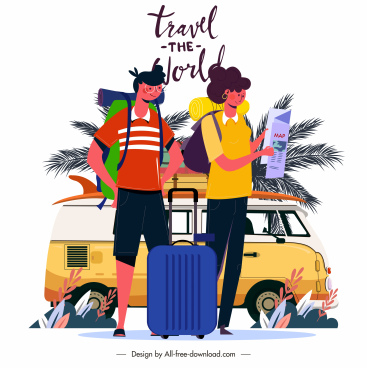 travel poster bus tourists luggage sketch cartoon characters