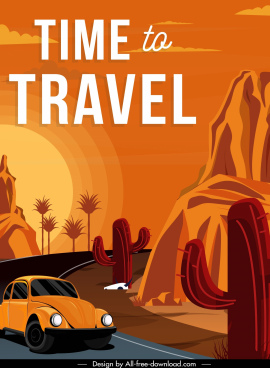 travel poster car desert road scene classic design