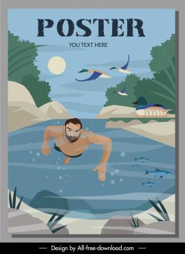 travel poster diving man stream scene cartoon design