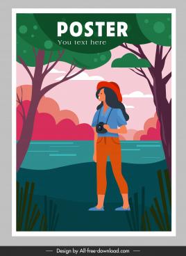 travel poster female traveler lake scene sketch