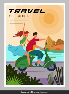 travel poster joyful couple motorbike sketch cartoon characters