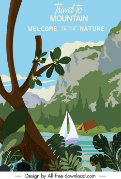 travel poster template mountain river sailboat tent decor