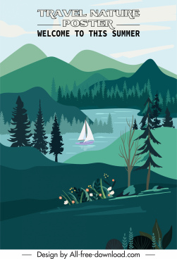 travel poster template natural lake scenery sketch