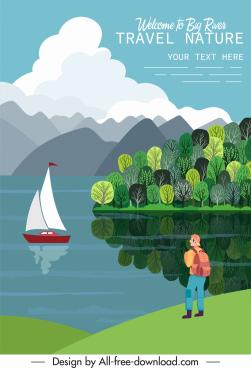 travel poster template tourist riverside sailboat sketch