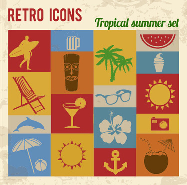 travel retro icons set vector