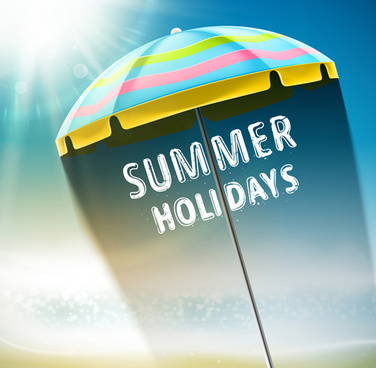 travel summer beach background set vector