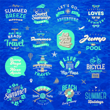 travel summer holiday labels set vector
