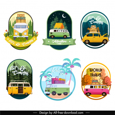travel tags templates colorful classic vehicles scence decor