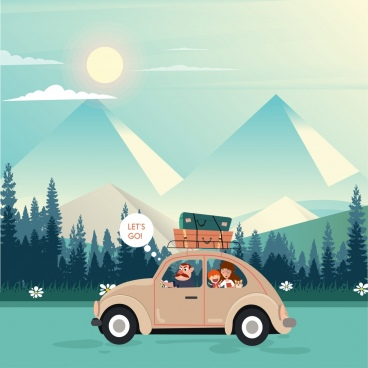 travel theme family car mountain icon colored cartoon