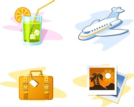 travel design elements cocktail airplane suitcase picture icons