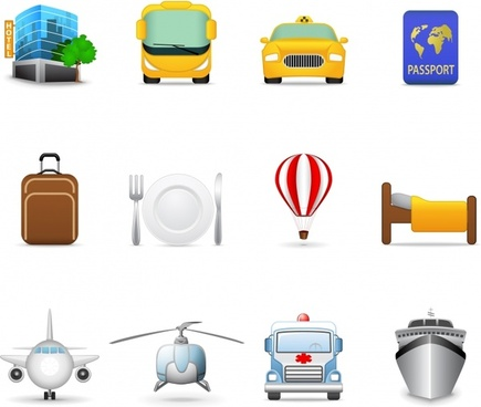 travel symbols icons collection colored objects design