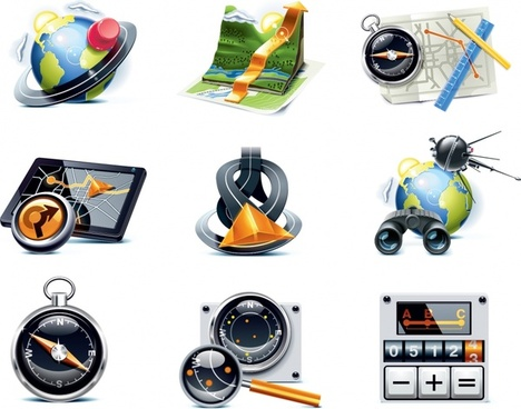 travel icons colored modern 3d realistic design