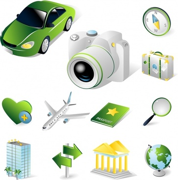 travel design elements modern 3d symbols