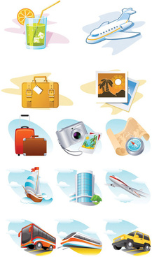 travel theme icon vector