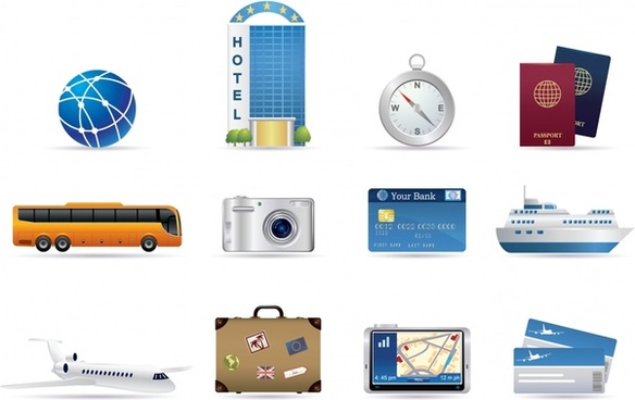 travel design elements object icons colored modern design