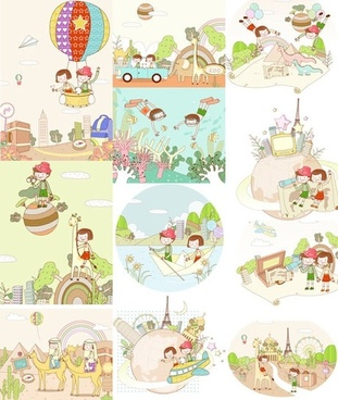 travel theme vector fantasy children drawings