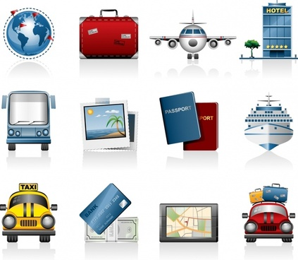 travel icons modern colored symbols sketch