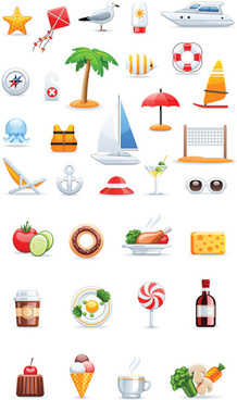 travel vector and food icons collections
