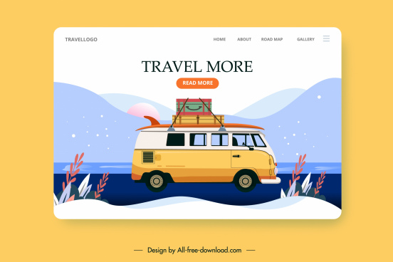 travel web template bus luggage mountain scene sketch