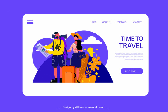 travel webpage template colorful cartoon characters sketch