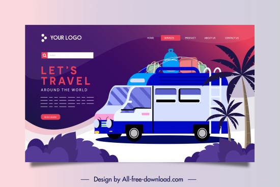 travel website template vacation elements sketch dark colorful