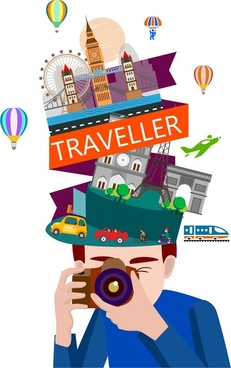 traveler icon various famous destinations and camera style